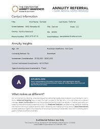 center for annuity awareness customer referral program the
