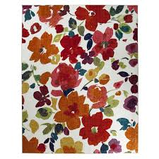 Orange Area Rug With White Swirls Red Floral Area Rug Roselawnlutheran
