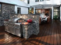 kitchen outdoor cooking station ideas with stone countertop