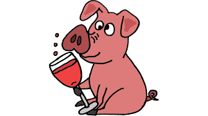 cool funny pig drinking wine cartoon t shirt by smiletoday design