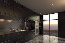cuisine de luxe rendu 3d de l intérieur moderne de cuisine de luxe banque d images