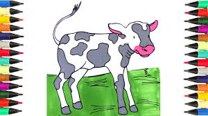 animals coloring pages for kids to learn colors little cow calf