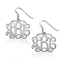 monogrammed earrings sterling silver monogram earrings custom made with