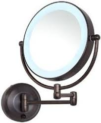 round makeup mirror with lights extending wall mounted battery led bathroom cosmetic shaving vanity