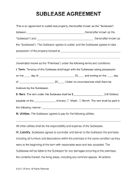 Contract Templates Free Word Templates Free Sublease Rental Agreement Template Pdf Word Eforms
