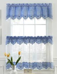 Brown Gingham Curtains Provence Curtains Chocolate Sheer Kitchen Curtains