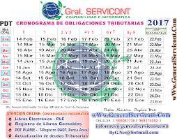 cronograma de sunat 2016 rus cronograma de vencimiento de obligaciones tributarias 2017