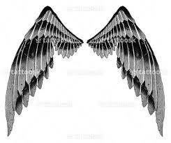 fallen wings on back black and grey feathers tattoosk