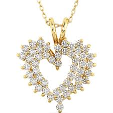 ladies gold necklace images Ladies cubic zirconia and sterling silver heart pendant jpg