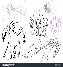 praying mantis drawings stock vector 62926471 shutterstock