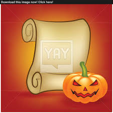 Halloween Banner Card With Empty Paper Scroll And Pumpkin Blank