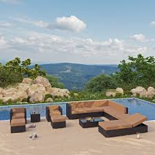 Patio Plus Outdoor Furniture by Exterior Black Cape May Wicker With Cushions And Side Table On