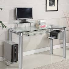 Metal And Glass Computer Desk Tables Executive Desk Contemporary With Storageleather Glass