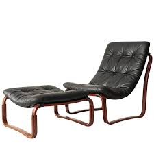 ingmar relling for westnofa black leather chair and ottoman norway