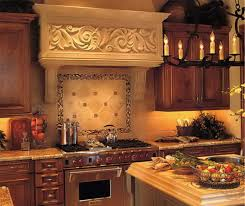 appealing wooden kitchen set feat mosaic tiles for backsplash