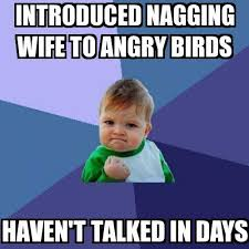 Angry Kid Meme - success kid introduced nagging wife to angry birds haven t talked