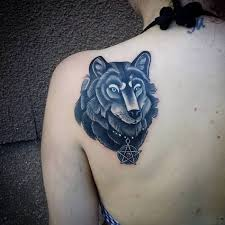 simple stars and nice wolf tattoo design for upper back golfian com