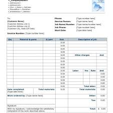 parts and labor invoice template free fern spreadsheet