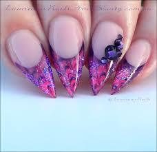 luminous nails marbleised pink u0026 purple gel nails