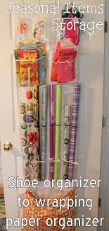 chic wrapping paper gift wrap storage from an the door shoe organizer the