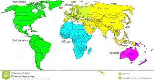 Continents And Oceans Map Political Map Of The World With All Continents Separated By Color