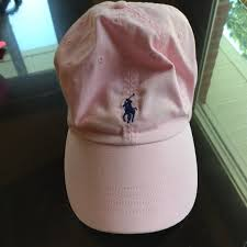 light pink polo baseball cap polo hat polos brown leather and navy blue