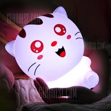 usb cat night light usb rechargeable cartoon lovely cat colorful remote control night