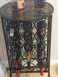 small metal bar table wine rack glass top 15 bottle storage holder