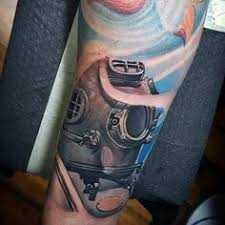 latest diving helmet tattoo on leg for boys tattoos pinterest