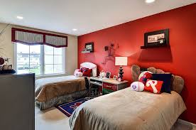 Girls Bedroom Accent Wall Baseball Themed Kids U0027 Bedroom With A Striking Red Accent Wall