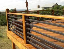 deck railing wood and metal wood deck railing ideas colors with