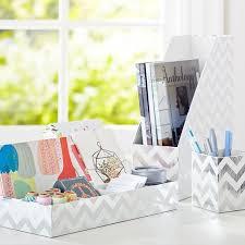 printed paper desk accessories set metallic silver foil chevron
