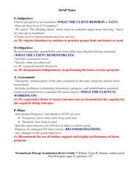 Soap Notes For Therapist Sample Occupational Therapy Soap Note Google Search