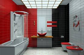 modern bathrooms with 3 colors tiled light gray black and red a