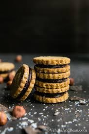 hazelnut shortbread with salted ganache sandwich cookies vanilla