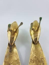 vintage brass peacocks 2 brass peacock birds brass figurines