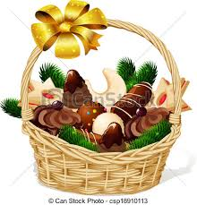 vector clip art of christmas cookie on basket isolated on white