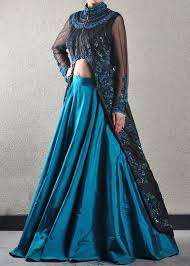 peacock blue and black jacket lehenga engagement cocktail pre