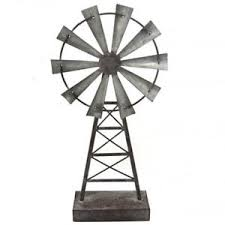 windmill statue ornament sculpture metal tabletop rustic country