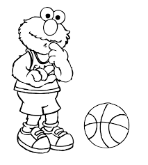elmo playing basketball coloring pages free coloring pages