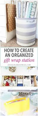 how to create an organized gift wrap station just a and