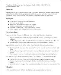 Logistics Coordinator Resume Sample by Download Inventory Resume Haadyaooverbayresort Com