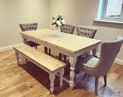 shabby chic farmhouse table bespoke reclaimed solid wood furniture by madeinthecellar