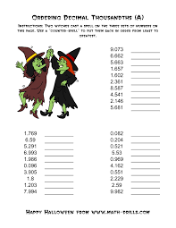 Halloween Worksheets Printable by Witches Ordering Decimal Thousandths A