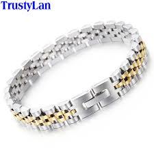 man stainless bracelet images Trustylan luxury stainless steel bracelet men golden watchband jpg