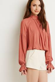 high neck ruffle blouse lyst forever 21 contemporary high neck ruffled blouse in