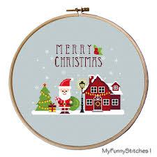 merry christmas modern cross stitch christmas ornaments modern christmas cross