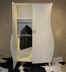 fo446 modern elegant white imitated leather upholstery wardrobe