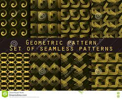 set of geometric seamless patterns yellow and black color for