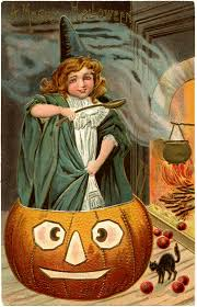 vintage halloween picture cute witch with pumpkin the